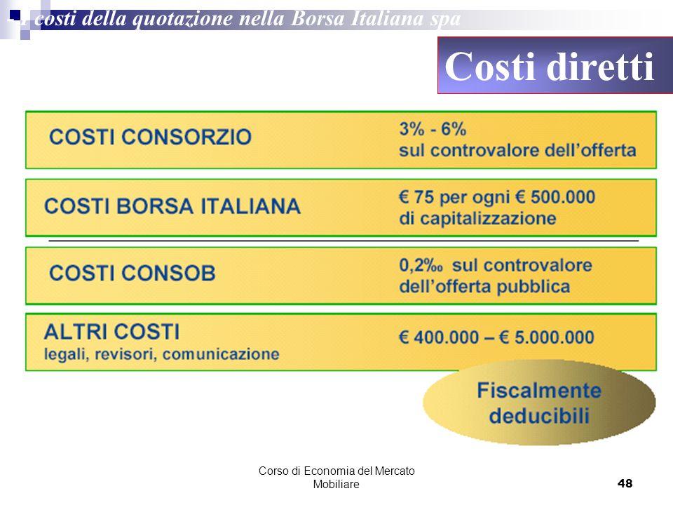 Corso di Economia del Mercato Mobiliare48 - I costi della quotazione nella Borsa Italiana spa Costi diretti