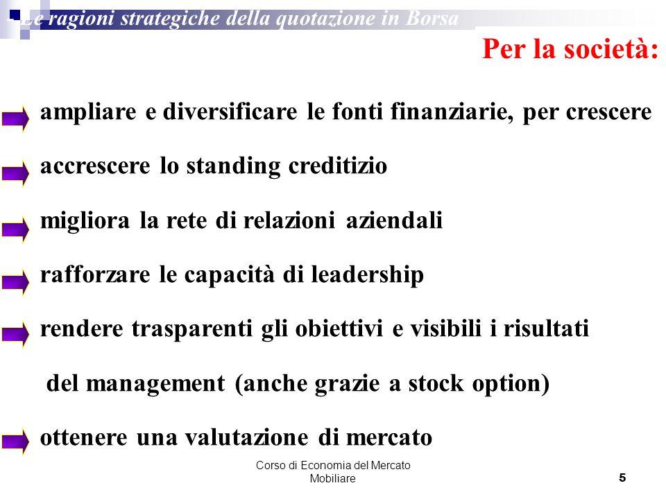 Corso di Economia del Mercato Mobiliare5 - Le ragioni strategiche della quotazione in Borsa Per la società: ampliare e diversificare le fonti finanzia
