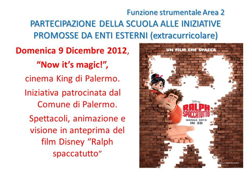 Funzione strumentale Area 2 PARTECIPAZIONE DELLA SCUOLA ALLE INIZIATIVE PROMOSSE DA ENTI ESTERNI (extracurricolare) Domenica 9 Dicembre 2012, Now its