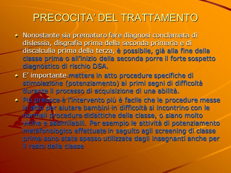 PRECOCITA DEL TRATTAMENTO Nonostante sia prematuro fare diagnosi conclamata di dislessia, disgrafia prima della seconda primaria e di discalculia prim