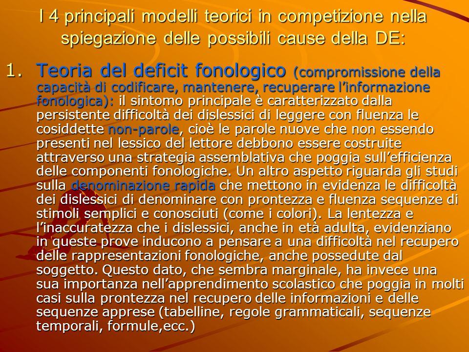 I 4 principali modelli teorici in competizione nella spiegazione delle possibili cause della DE: 1.Teoria del deficit fonologico (compromissione della