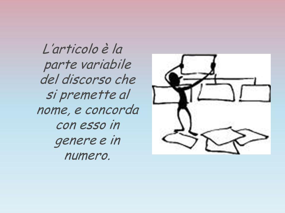Larticolo può essere: DETERMINATIVO, cioè che indica qualcosa di preciso(il- lo- la- il- gli- le- l), INDETERMINATIVO, cioè che indica qualcosa di generico(uno- un – una), PARTITIVO, cioè che indica una parte (dei- delle- degli- delle…)