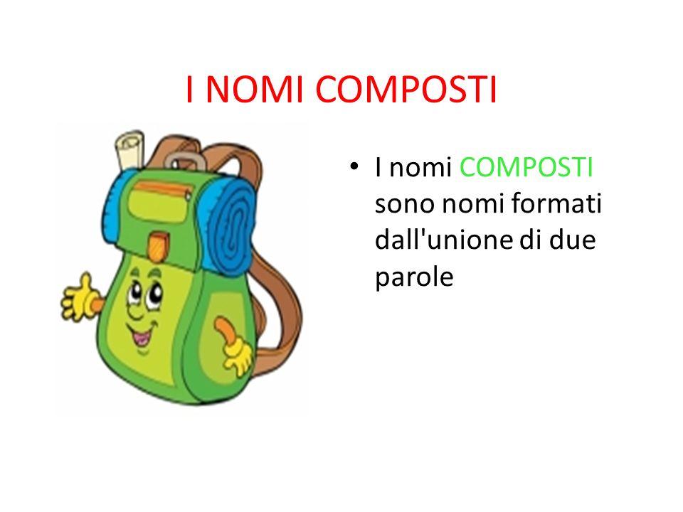 I NOMI COMPOSTI I nomi COMPOSTI sono nomi formati dall'unione di due parole