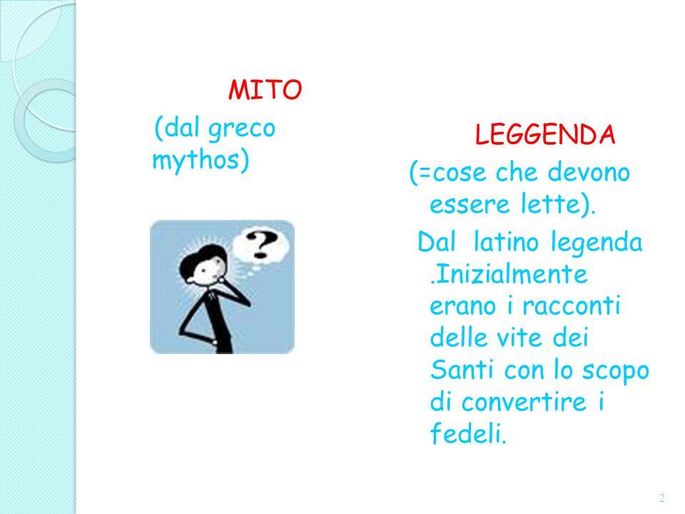 MITO (dal greco mythos) LEGGENDA (=cose che devono essere lette). Dal latino legenda.Inizialmente erano i racconti delle vite dei Santi con lo scopo d