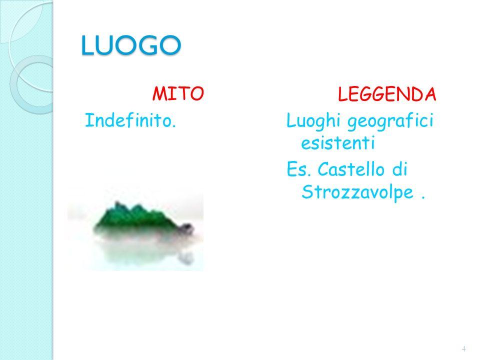 LUOGO MITO Indefinito. LEGGENDA Luoghi geografici esistenti Es. Castello di Strozzavolpe. 4