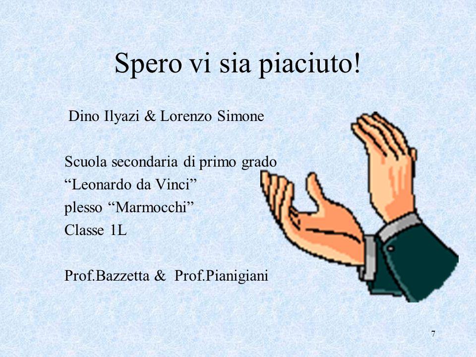 Spero vi sia piaciuto! Dino Ilyazi & Lorenzo Simone Scuola secondaria di primo grado Leonardo da Vinci plesso Marmocchi Classe 1L Prof.Bazzetta & Prof
