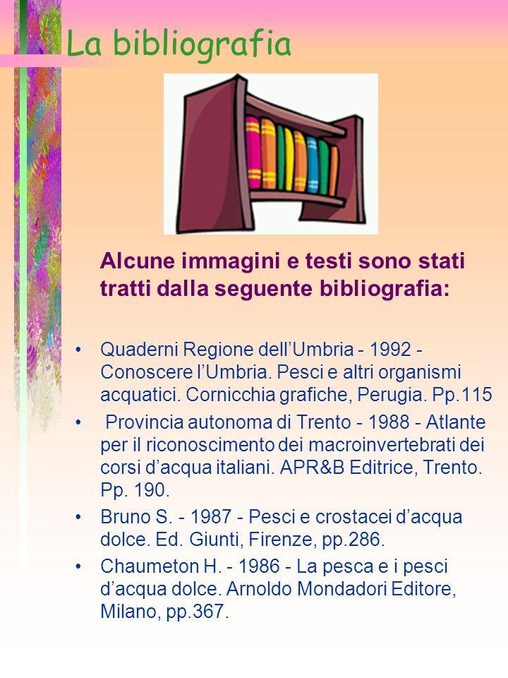 La bibliografia Alcune immagini e testi sono stati tratti dalla seguente bibliografia: Quaderni Regione dellUmbria - 1992 - Conoscere lUmbria. Pesci e