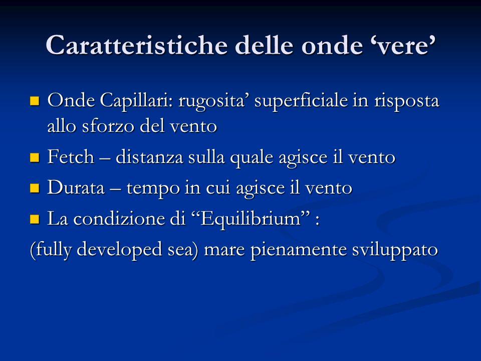 Caratteristiche delle onde vere Onde Capillari: rugosita superficiale in risposta allo sforzo del vento Onde Capillari: rugosita superficiale in rispo