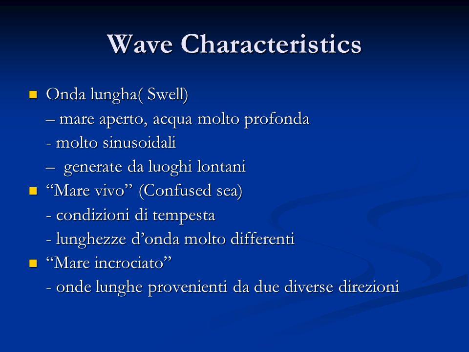 Wave Characteristics Onda lungha( Swell) Onda lungha( Swell) – mare aperto, acqua molto profonda - molto sinusoidali – generate da luoghi lontani Mare