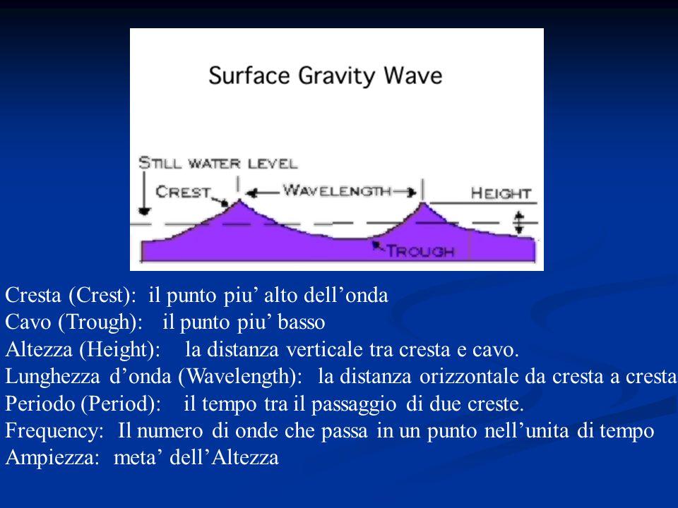 Cresta (Crest): il punto piu alto dellonda Cavo (Trough): il punto piu basso Altezza (Height): la distanza verticale tra cresta e cavo. Lunghezza dond