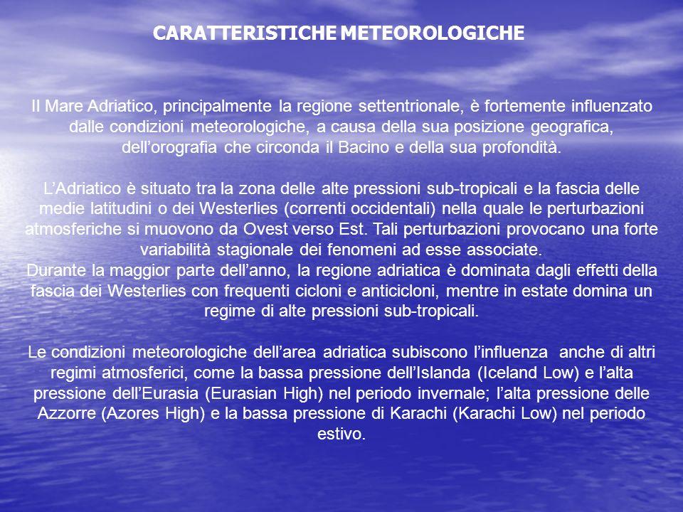Il Mare Adriatico, principalmente la regione settentrionale, è fortemente influenzato dalle condizioni meteorologiche, a causa della sua posizione geo