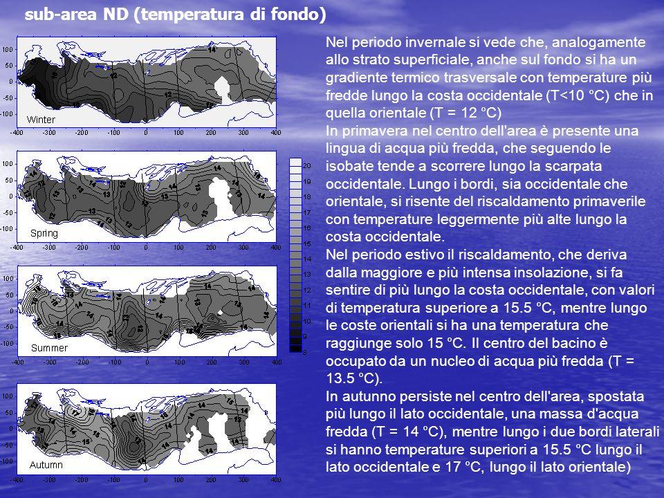 sub-area ND (temperatura di fondo) Nel periodo invernale si vede che, analogamente allo strato superficiale, anche sul fondo si ha un gradiente termic