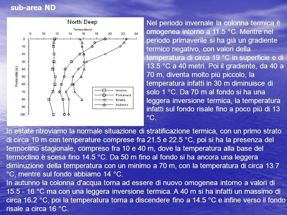 sub-area ND Nel periodo invernale la colonna termica è omogenea intorno a 11.5 °C. Mentre nel periodo primaverile si ha già un gradiente termico negat