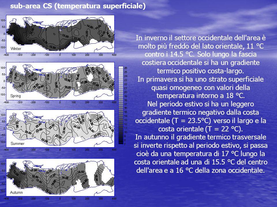 sub-area CS (temperatura superficiale) In inverno il settore occidentale dell'area è molto più freddo del lato orientale, 11 °C contro i 14.5 °C. Solo