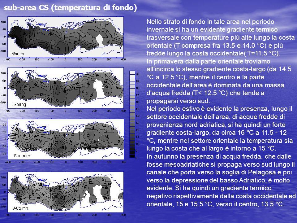 sub-area CS (temperatura di fondo) Nello strato di fondo in tale area nel periodo invernale si ha un evidente gradiente termico trasversale con temper