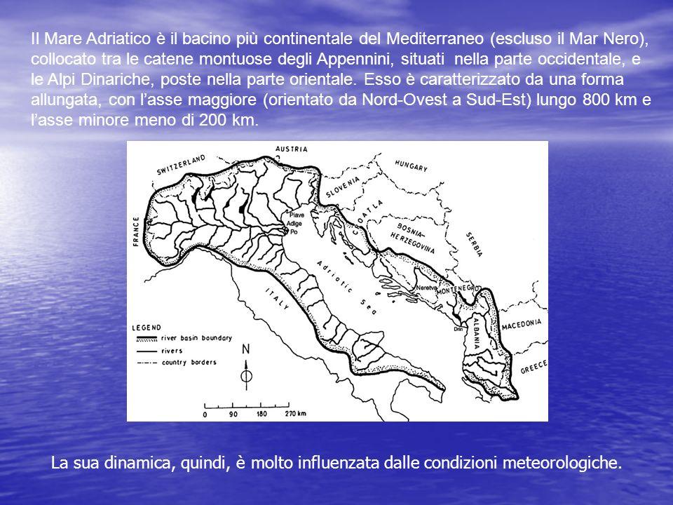 Il Mare Adriatico è il bacino più continentale del Mediterraneo (escluso il Mar Nero), collocato tra le catene montuose degli Appennini, situati nella