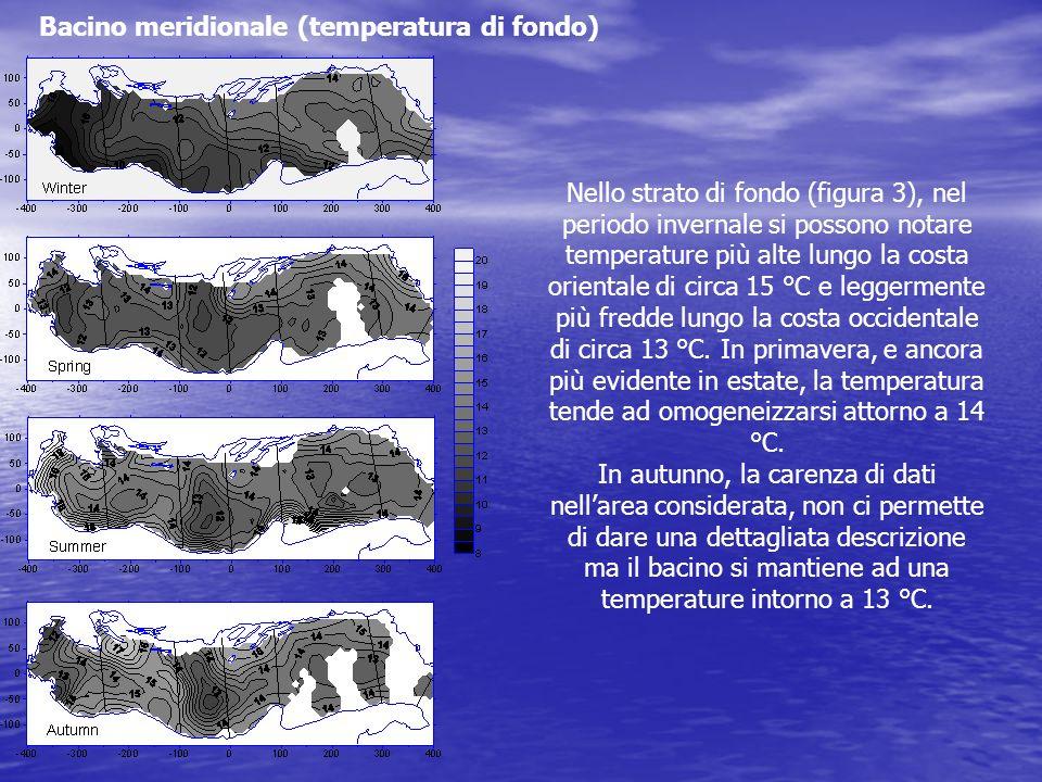 Nello strato di fondo (figura 3), nel periodo invernale si possono notare temperature più alte lungo la costa orientale di circa 15 °C e leggermente p