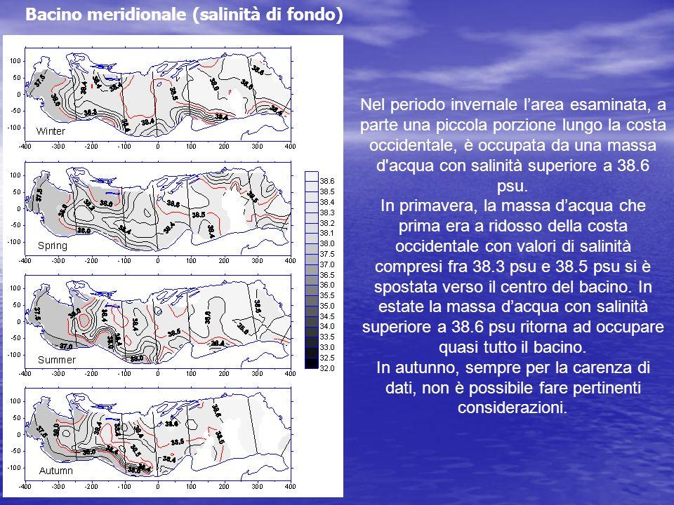 Nel periodo invernale larea esaminata, a parte una piccola porzione lungo la costa occidentale, è occupata da una massa d'acqua con salinità superiore