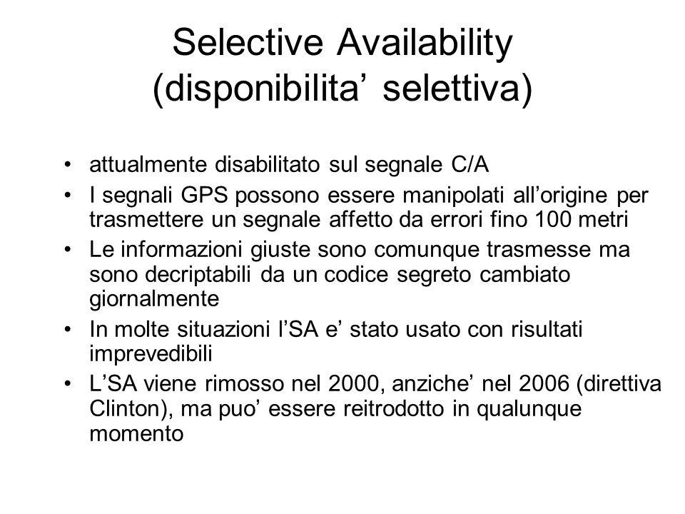 Selective Availability (disponibilita selettiva) attualmente disabilitato sul segnale C/A I segnali GPS possono essere manipolati allorigine per trasm
