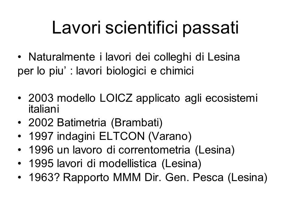 Lavori scientifici passati Naturalmente i lavori dei colleghi di Lesina per lo piu : lavori biologici e chimici 2003 modello LOICZ applicato agli ecosistemi italiani 2002 Batimetria (Brambati) 1997 indagini ELTCON (Varano) 1996 un lavoro di correntometria (Lesina) 1995 lavori di modellistica (Lesina) 1963.