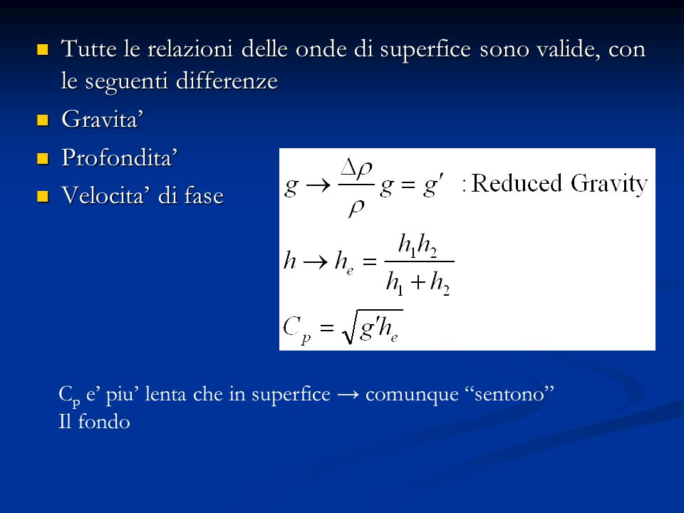 Tutte le relazioni delle onde di superfice sono valide, con le seguenti differenze Tutte le relazioni delle onde di superfice sono valide, con le seguenti differenze Gravita Gravita Profondita Profondita Velocita di fase Velocita di fase C p e piu lenta che in superfice comunque sentono Il fondo