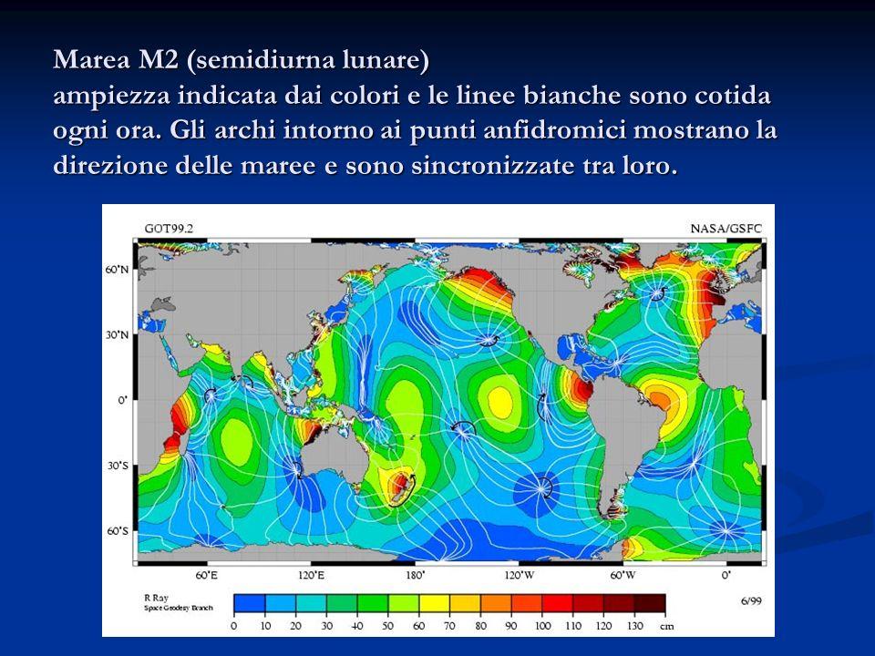 Marea M2 (semidiurna lunare) ampiezza indicata dai colori e le linee bianche sono cotida ogni ora. Gli archi intorno ai punti anfidromici mostrano la