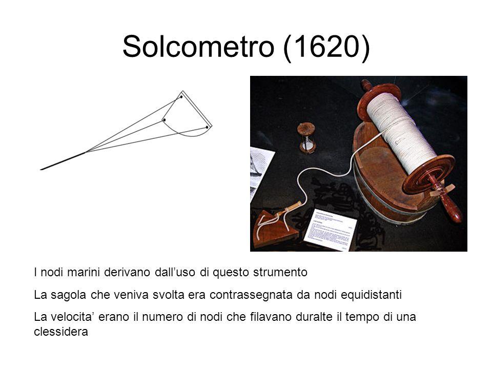 Solcometro (1620) I nodi marini derivano dalluso di questo strumento La sagola che veniva svolta era contrassegnata da nodi equidistanti La velocita e