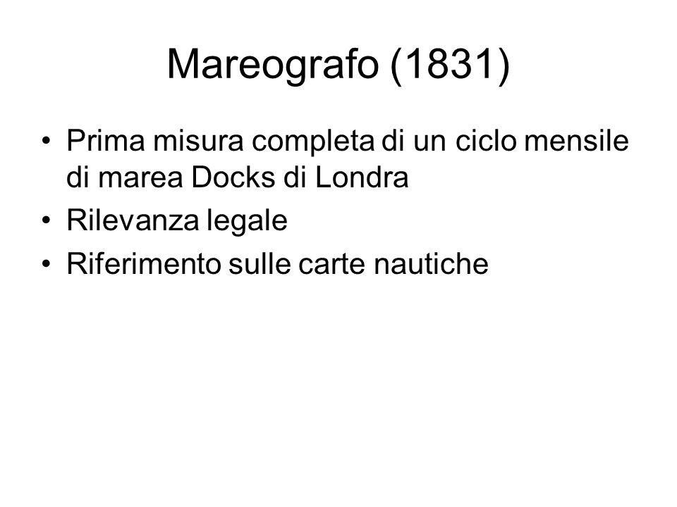 Mareografo (1831) Prima misura completa di un ciclo mensile di marea Docks di Londra Rilevanza legale Riferimento sulle carte nautiche