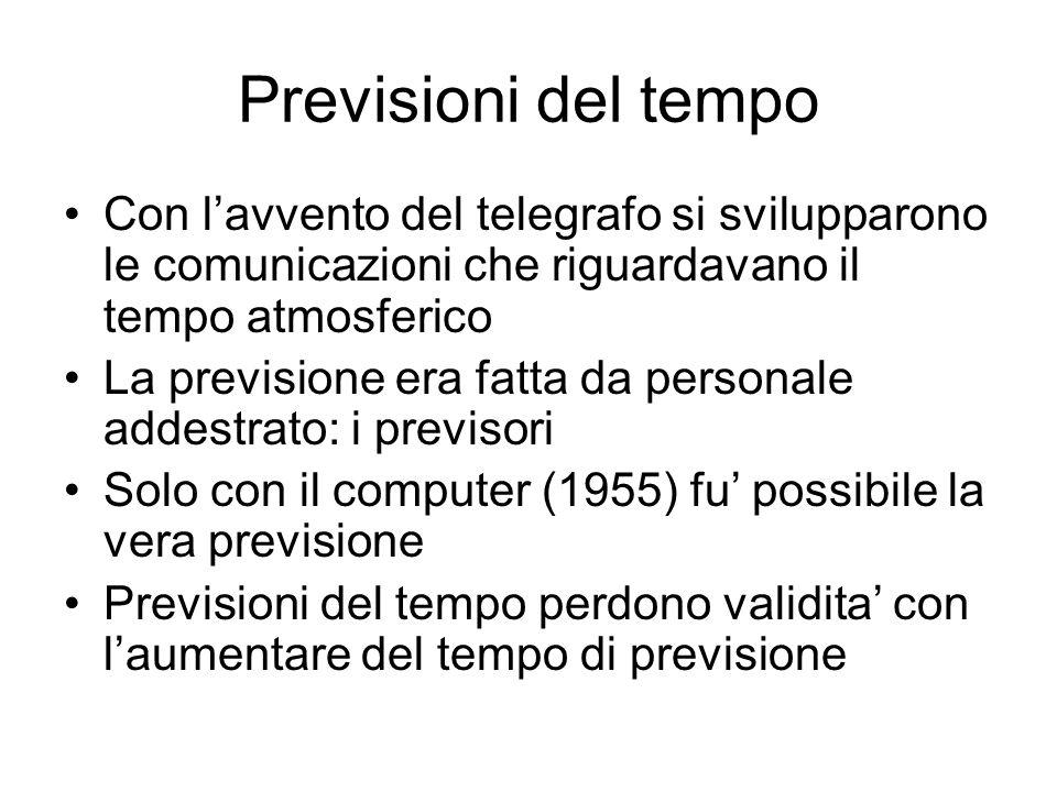 Previsioni del tempo Con lavvento del telegrafo si svilupparono le comunicazioni che riguardavano il tempo atmosferico La previsione era fatta da pers