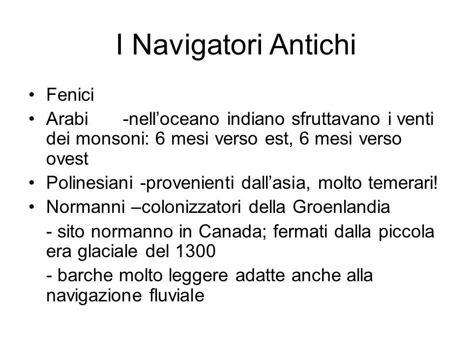 I Navigatori Antichi Fenici Arabi -nelloceano indiano sfruttavano i venti dei monsoni: 6 mesi verso est, 6 mesi verso ovest Polinesiani -provenienti d