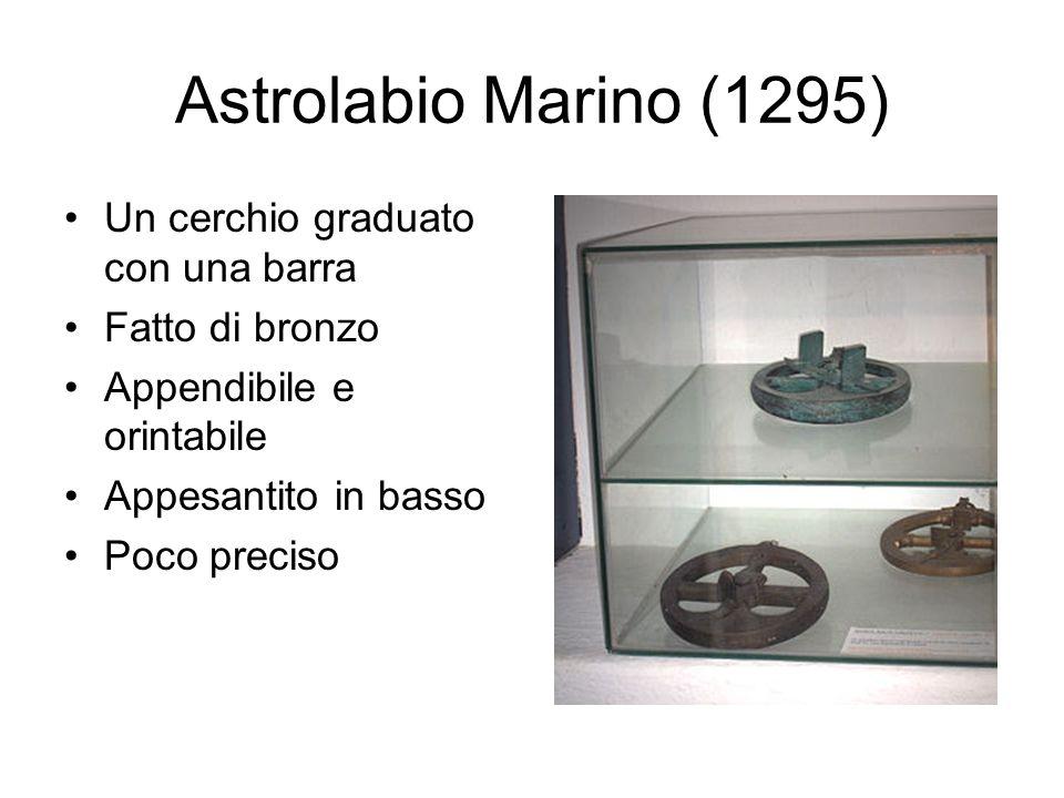 Astrolabio Marino (1295) Un cerchio graduato con una barra Fatto di bronzo Appendibile e orintabile Appesantito in basso Poco preciso