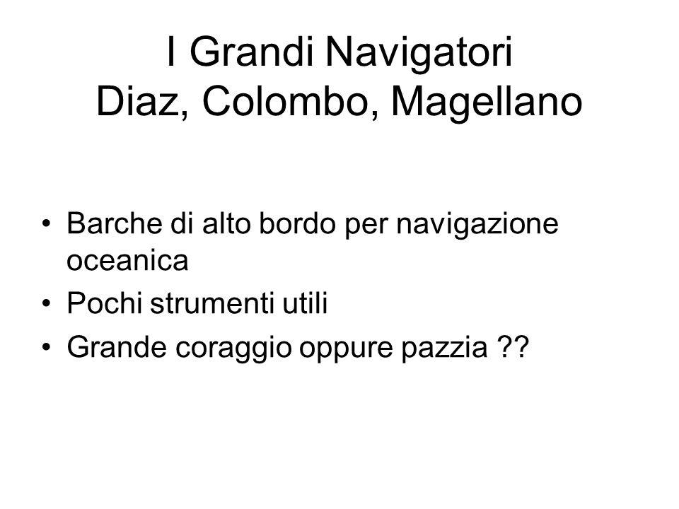 I Grandi Navigatori Diaz, Colombo, Magellano Barche di alto bordo per navigazione oceanica Pochi strumenti utili Grande coraggio oppure pazzia ??
