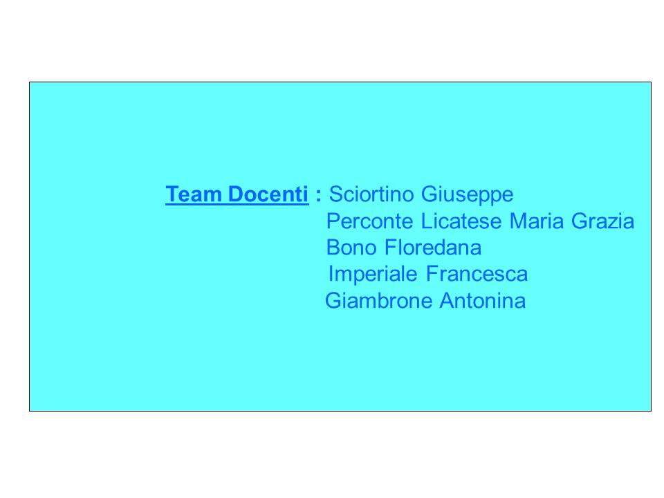 Team Docenti : Sciortino Giuseppe Perconte Licatese Maria Grazia Bono Floredana Imperiale Francesca Giambrone Antonina