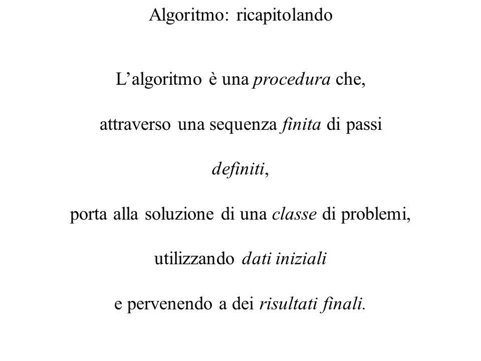 Algoritmo: ricapitolando Lalgoritmo è una procedura che, attraverso una sequenza finita di passi definiti, porta alla soluzione di una classe di probl