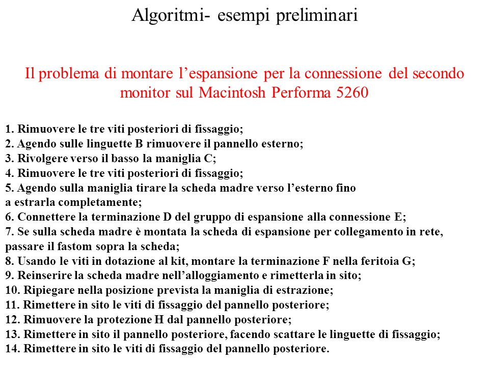 Algoritmi- esempi preliminari Il problema di montare lespansione per la connessione del secondo monitor sul Macintosh Performa 5260 1. Rimuovere le tr