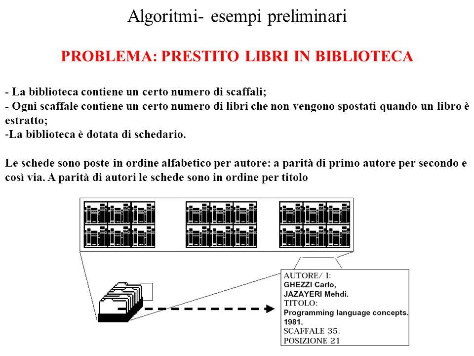 Algoritmi- esempi preliminari PROBLEMA: PRESTITO LIBRI IN BIBLIOTECA - La biblioteca contiene un certo numero di scaffali; - Ogni scaffale contiene un