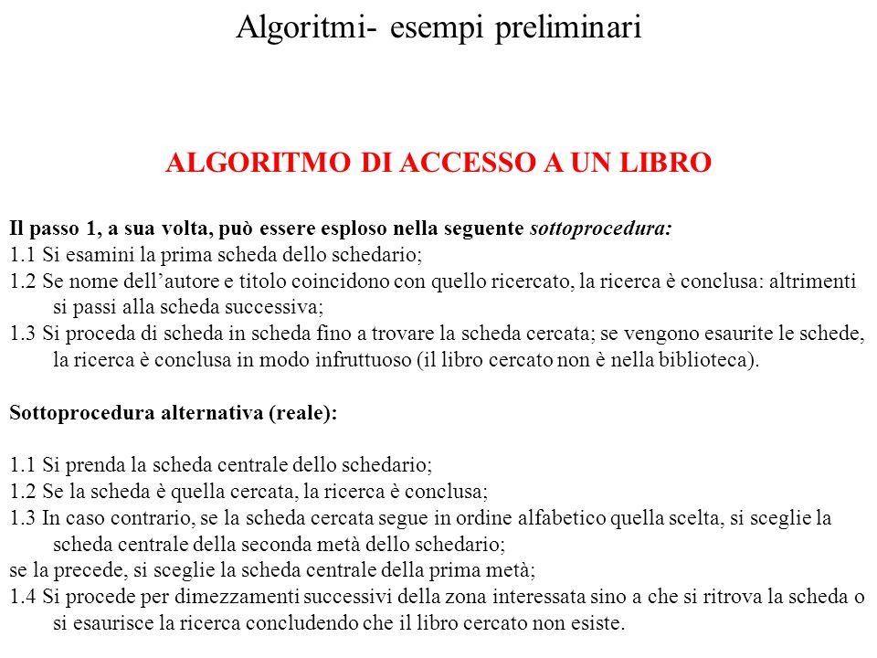 Algoritmi- esempi preliminari ALGORITMO DI ACCESSO A UN LIBRO Il passo 1, a sua volta, può essere esploso nella seguente sottoprocedura: 1.1 Si esamin