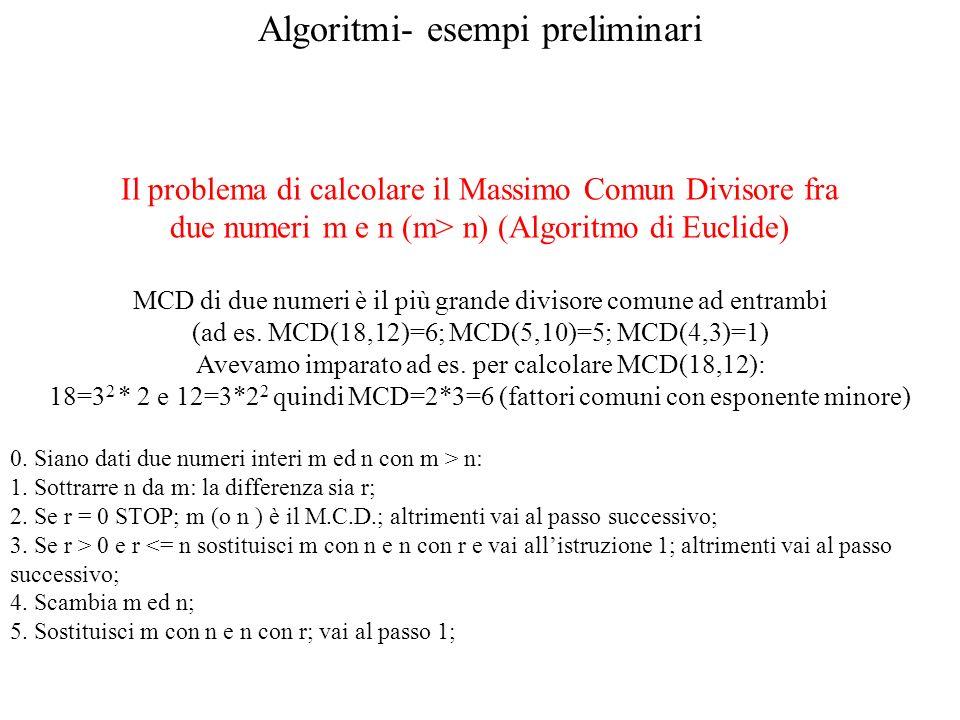 Algoritmi- esempi preliminari Il problema di calcolare il Massimo Comun Divisore fra due numeri m e n (m> n) (Algoritmo di Euclide) MCD di due numeri