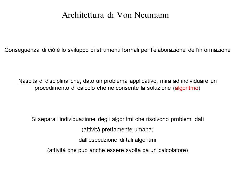 Architettura di Von Neumann Conseguenza di ciò è lo sviluppo di strumenti formali per lelaborazione dellinformazione Nascita di disciplina che, dato u