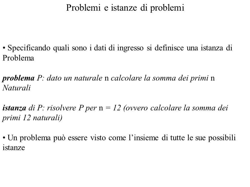 Problemi e istanze di problemi Specificando quali sono i dati di ingresso si definisce una istanza di Problema problema P: dato un naturale n calcolar