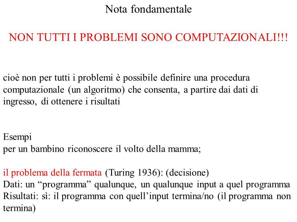 Nota fondamentale NON TUTTI I PROBLEMI SONO COMPUTAZIONALI!!! cioè non per tutti i problemi è possibile definire una procedura computazionale (un algo