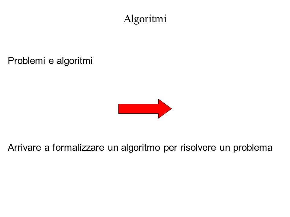 Algoritmi Algoritmi: esempi preliminari Formulazione di un problema ed esempi Algoritmi: concetto ed esempi Algoritmi: caratteristiche Strutture di controllo: esempi Strutture di controllo
