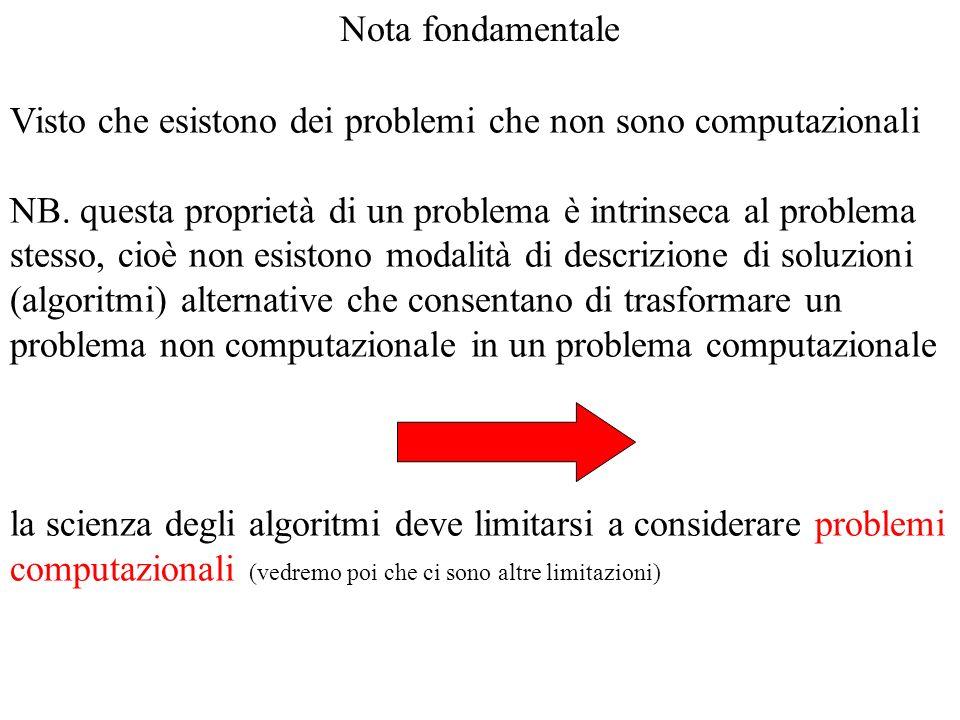 Nota fondamentale Visto che esistono dei problemi che non sono computazionali NB. questa proprietà di un problema è intrinseca al problema stesso, cio