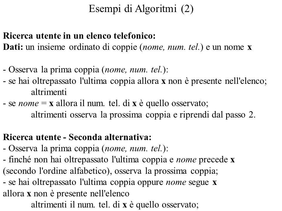 Esempi di Algoritmi (2) Ricerca utente in un elenco telefonico: Dati: un insieme ordinato di coppie (nome, num. tel.) e un nome x - Osserva la prima c