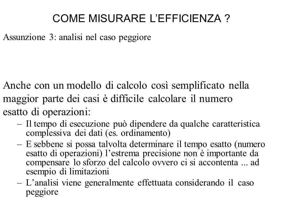 Assunzione 3: analisi nel caso peggiore Anche con un modello di calcolo così semplificato nella maggior parte dei casi è difficile calcolare il numero