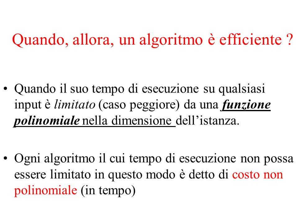 Quando, allora, un algoritmo è efficiente ? Quando il suo tempo di esecuzione su qualsiasi input è limitato (caso peggiore) da una funzione polinomial