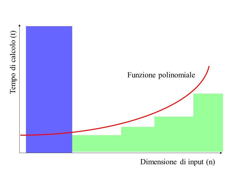 Tempo di calcolo (t) Dimensione di input (n) Funzione polinomiale