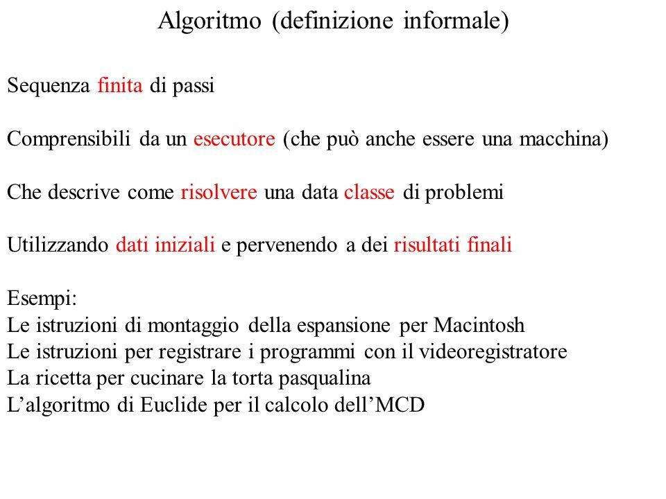 Algoritmo (definizione informale) Sequenza finita di passi Comprensibili da un esecutore (che può anche essere una macchina) Che descrive come risolve