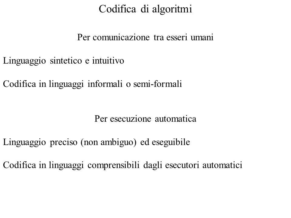 Codifica di algoritmi Per comunicazione tra esseri umani Linguaggio sintetico e intuitivo Codifica in linguaggi informali o semi-formali Per esecuzion