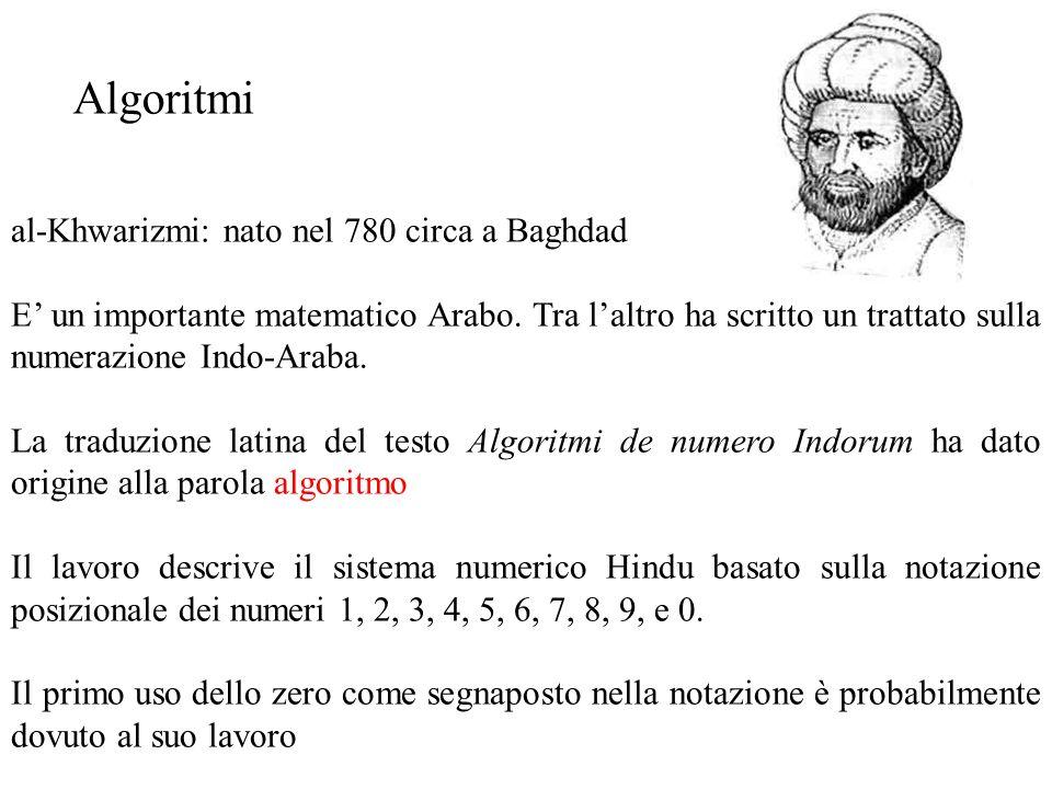 Algoritmo Algoritmo per un problema P: descrizione, in termini di azioni elementari, di un procedimento che risolve P Approccio procedurale alla soluzione di problemi (esistono altri approcci: logici, simbolici, funzionali,...) Ad es.